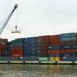 Containers in Rotterdam harbour